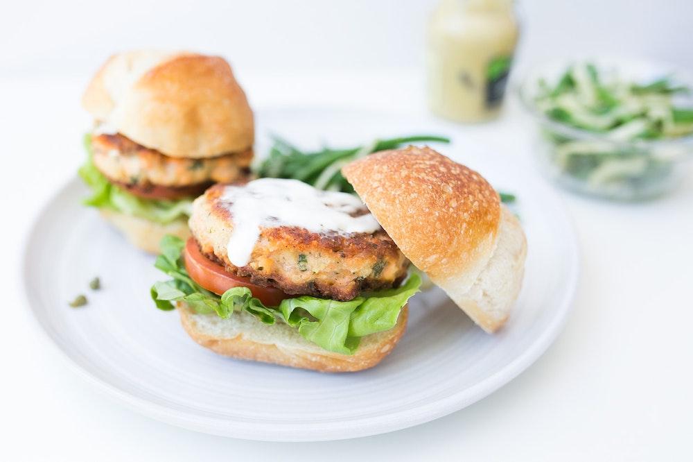 Salmon-Basil Burgers