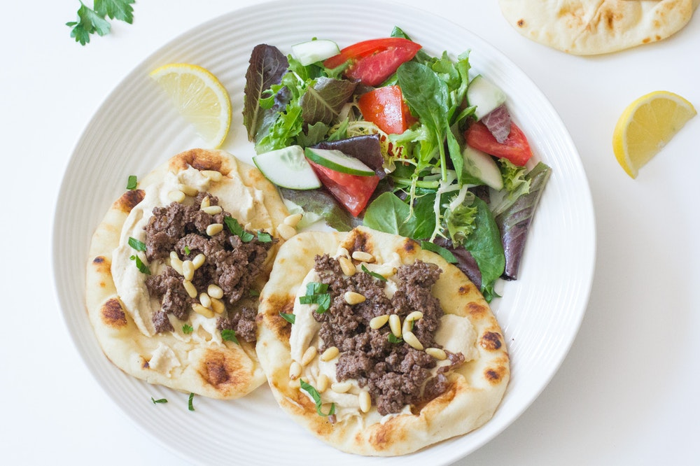 Turkish Pitas with Hummus and Lamb