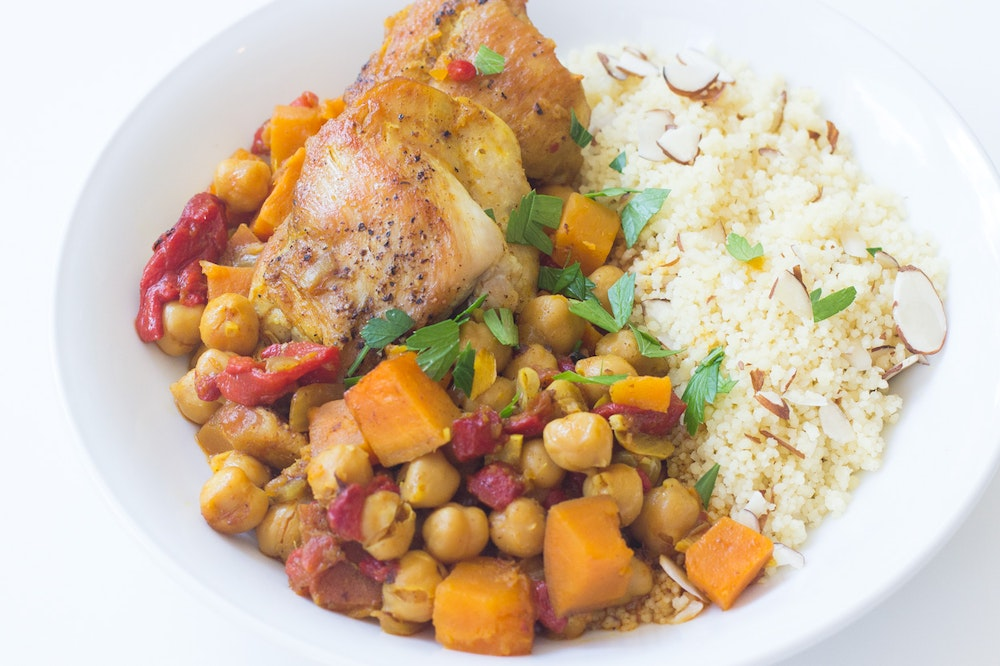 Slow-Cooker Cauliflower, Sweet Potato and Chickpea Tagine