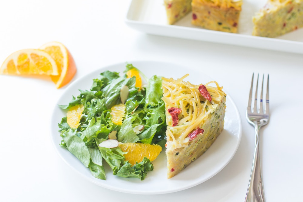 Pasta Frittata with Zucchini and Red Pepper