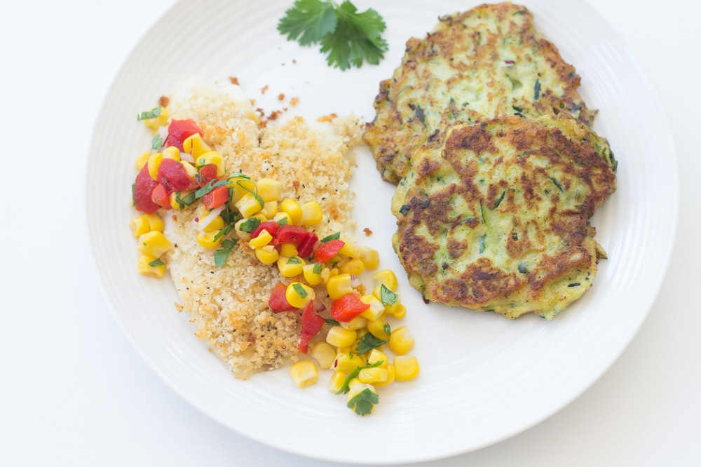 Panko Baked Trout with Corn Relish