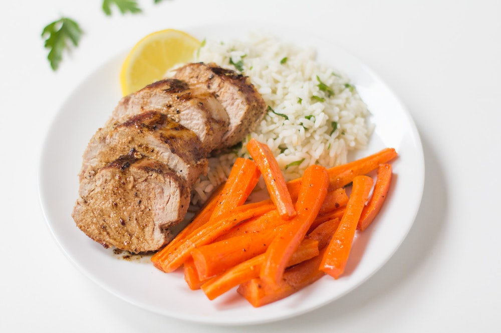 Roasted Pork Tenderloin with Herb Rice