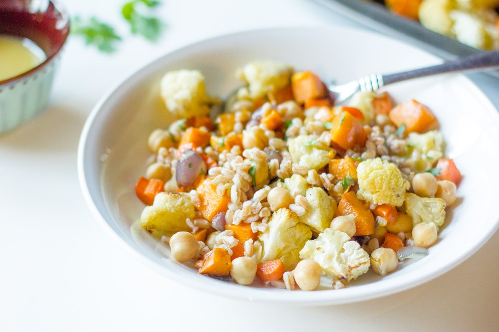 Warm Farro and Roasted Root Vegetable Salad