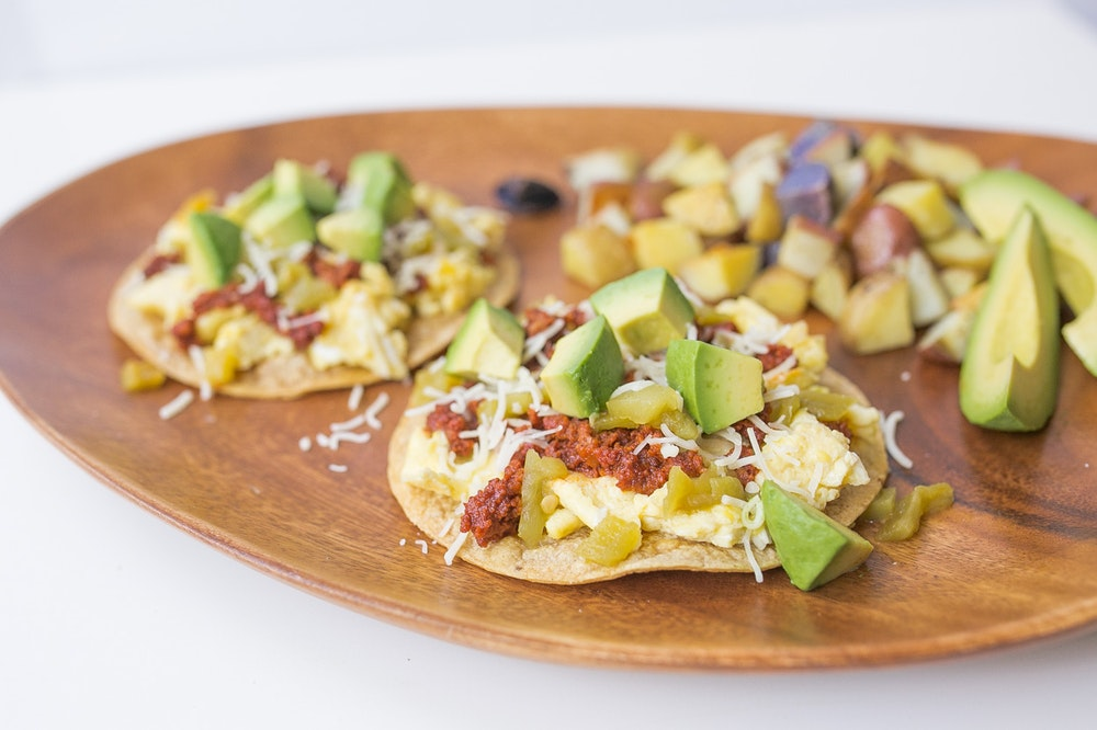 Breakfast Tostadas with Chorizo and Spinach
