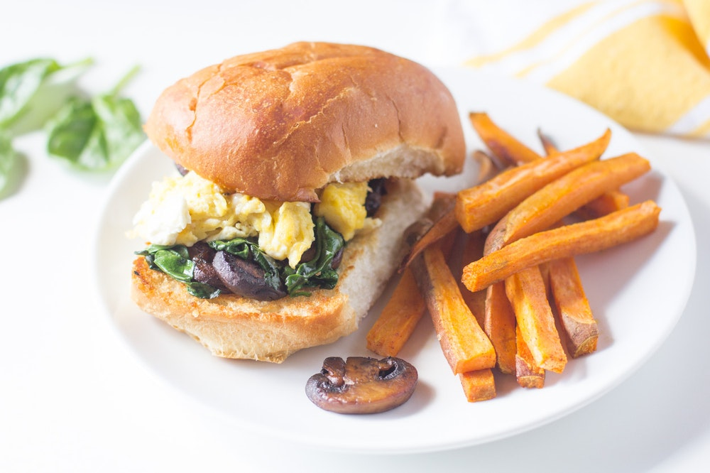 Mushroom and Spinach Breakfast Sandwiches