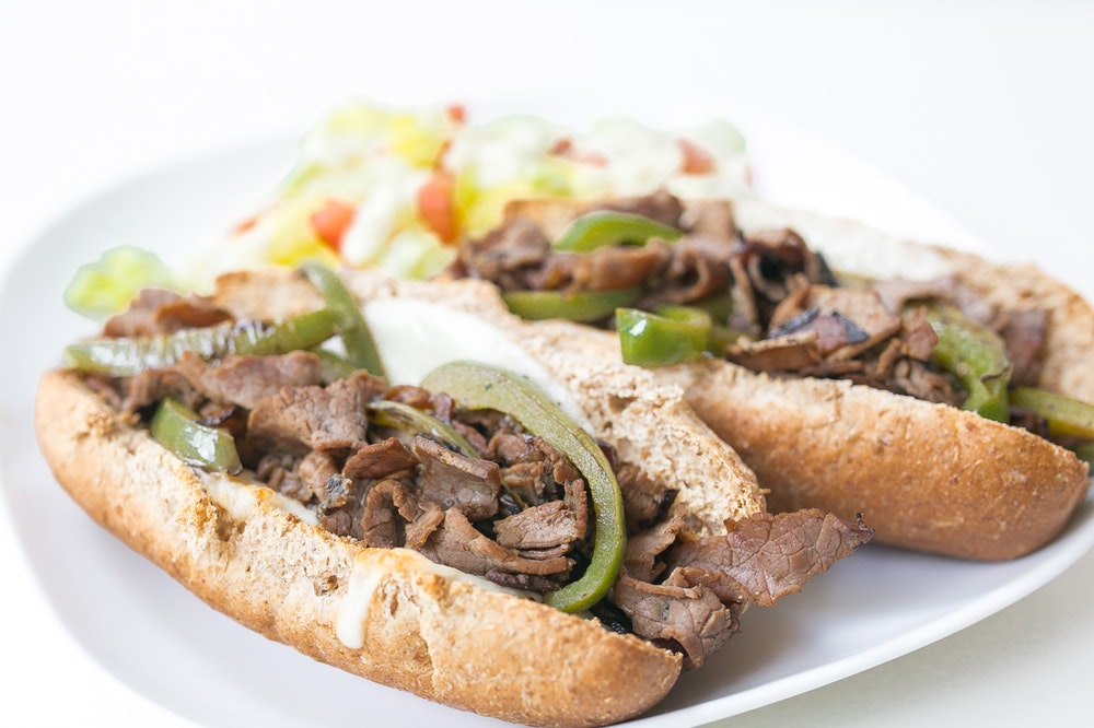 Philly Cheesesteaks with Roast Beef & Green Peppers