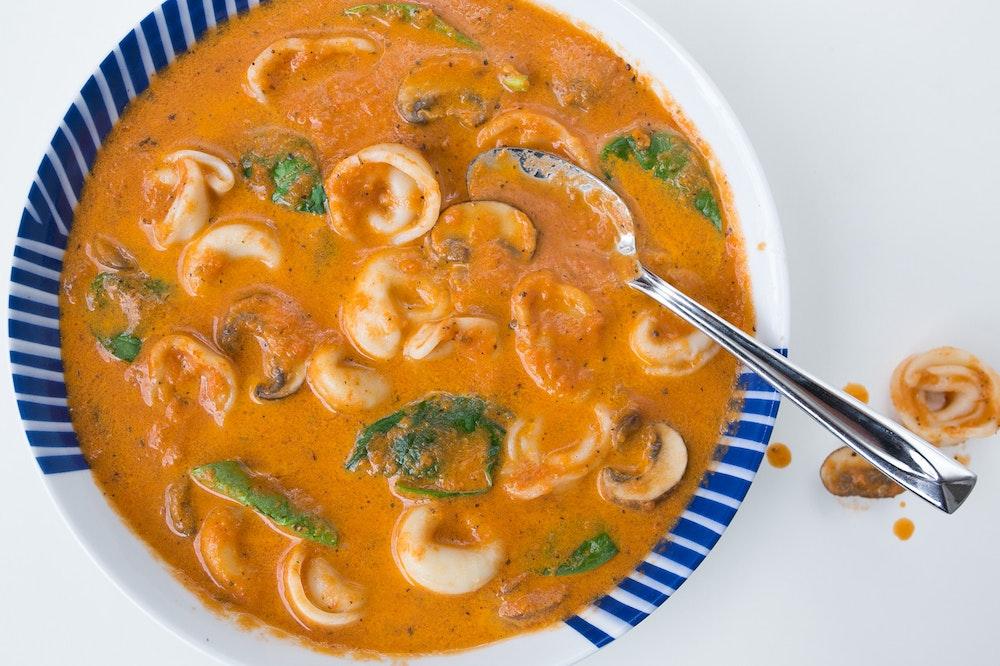 Tortellini Soup with Creamy Tomato Broth