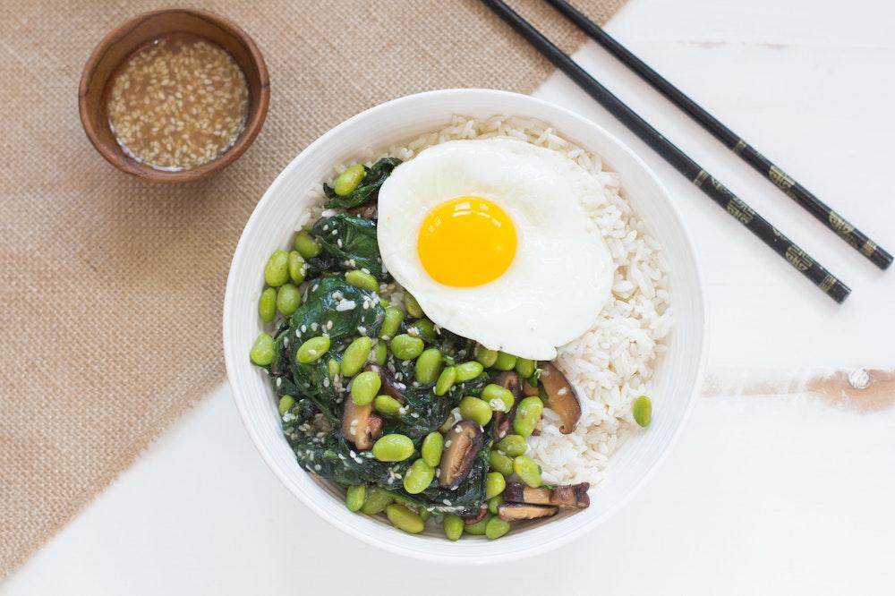 Shiitake and Edamame Rice Bowls