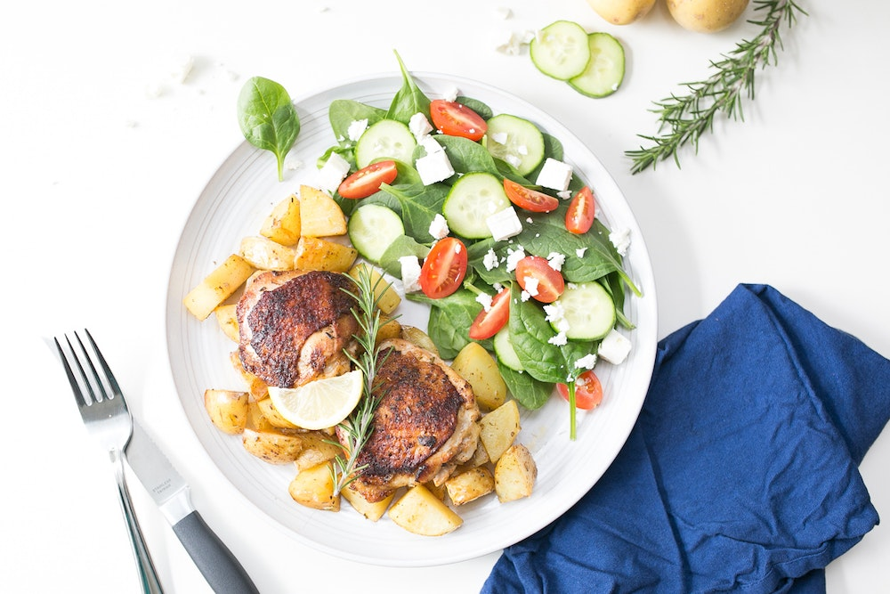 Roasted Lemony Greek Chicken & Potatoes