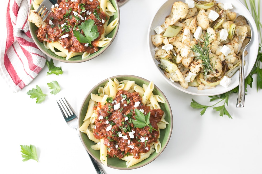 Penne with Greek Style Meat Sauce