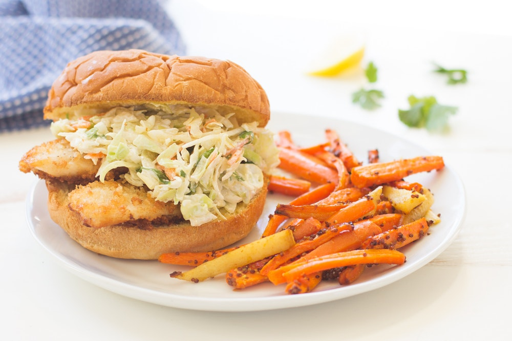 Crispy Fish Sandwiches with Creamy Slaw