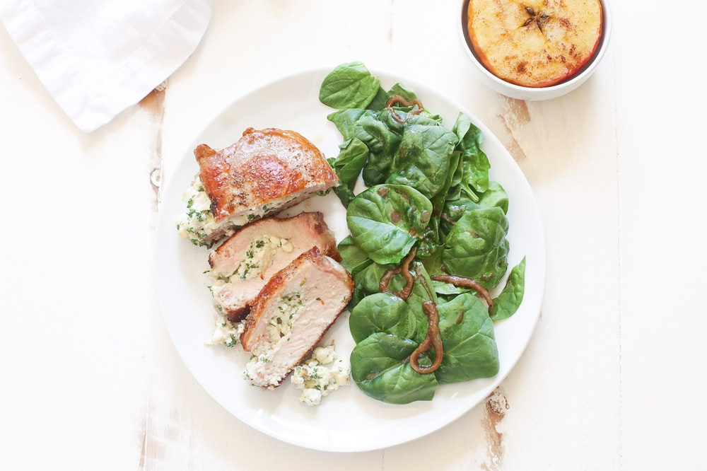 Herb and Cheese Stuffed Pork Chops