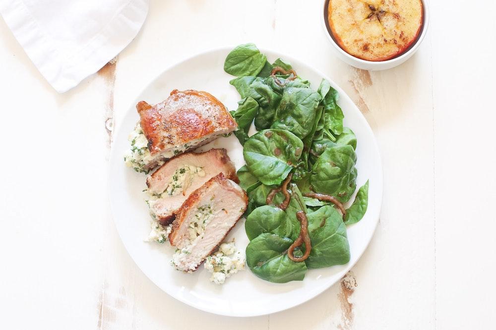 Herb and Cheese Stuffed Pork Chops