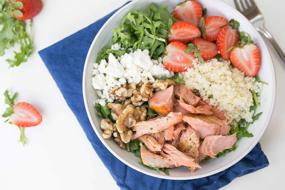 Salmon, Strawberry, and Couscous Salad