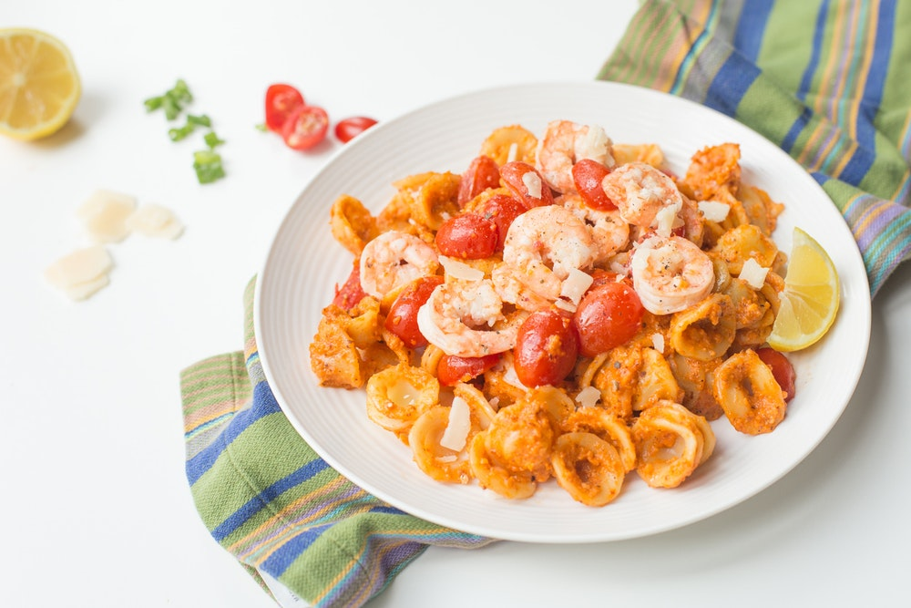 Shrimp Romesco with Orecchiette