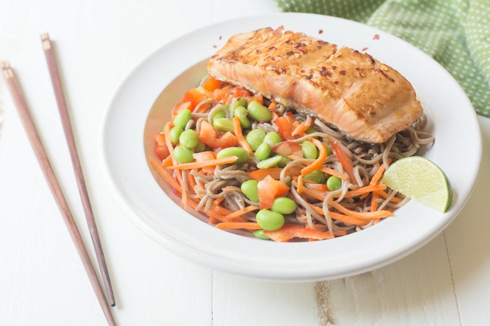 Sesame Salmon Noodle Bowls