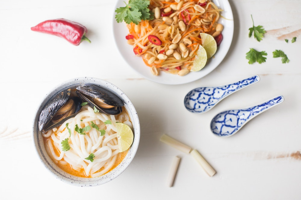Thailand   Thai Noodle Bowls with Mussels