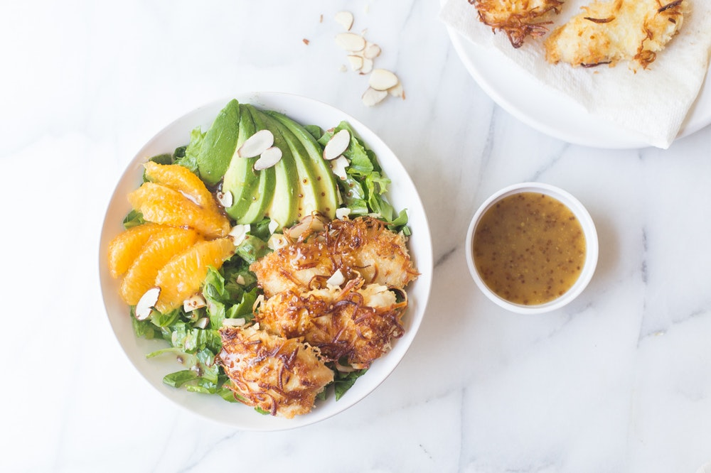 Coconut Crusted Chicken Salads