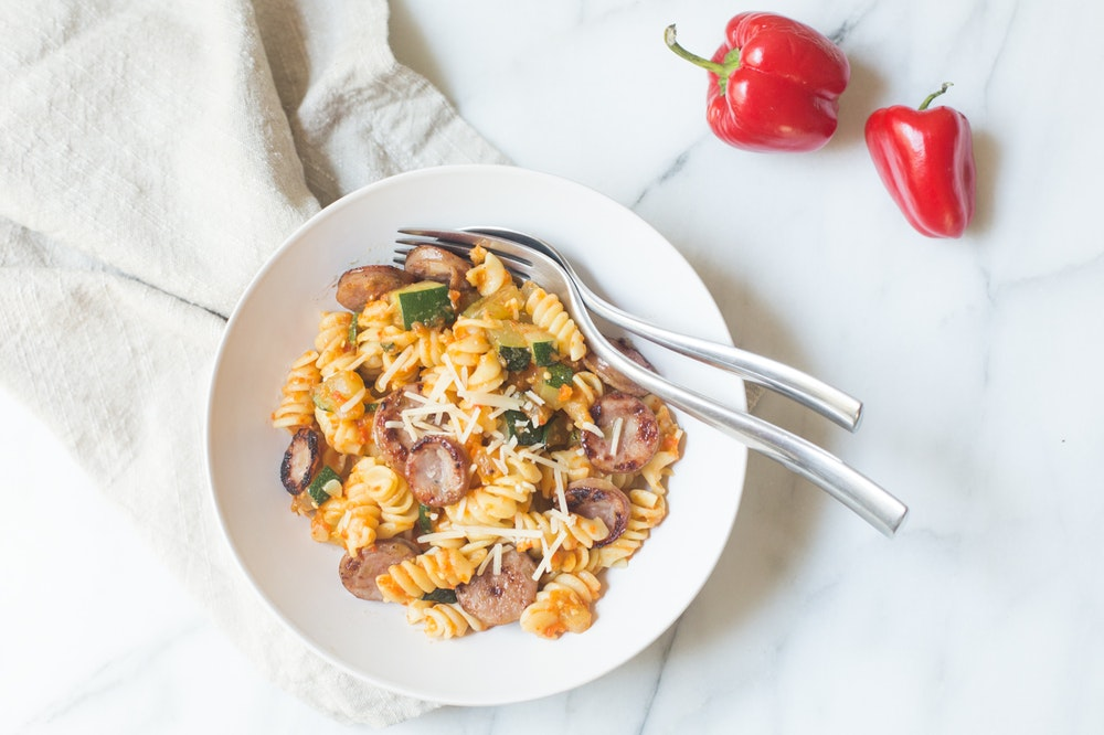 Fusilli with Roasted Red Pepper Sauce