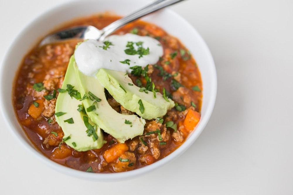 Slow Cooker Turkey and Sweet Potato Chili