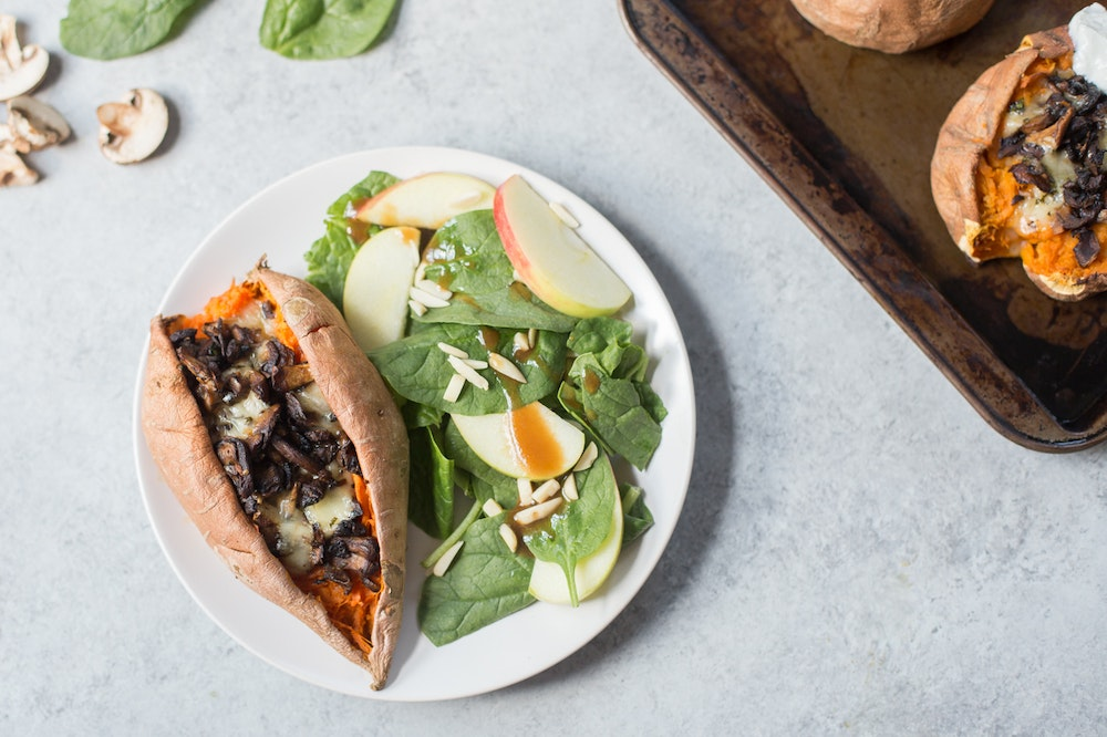 Baked Sweet Potatoes with Mushrooms and Swiss Cheese