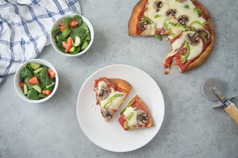 Green Pepper and Mushroom Pizza