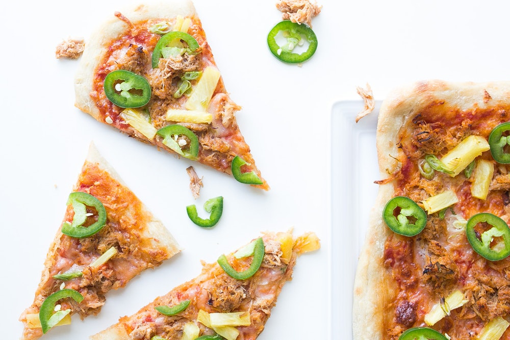 BBQ Mushroom Pizza with Pineapple and Jalapenos