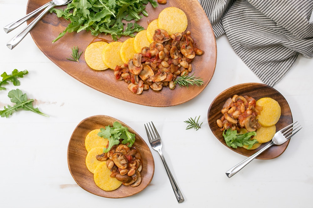Tomato Braised White Beans & Mushrooms over Polenta
