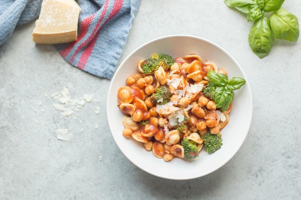 Spicy Broccoli and Chickpea Orecchiette