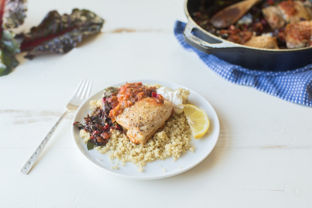 Skillet Chicken with Salsa and Chard