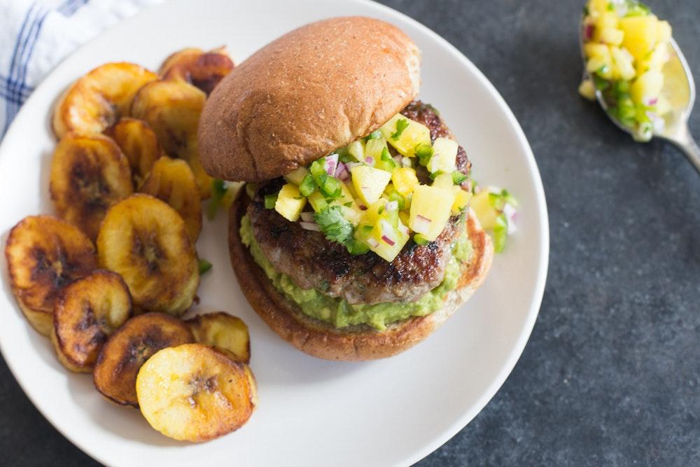 Jerk Pork Burgers with Pineapple Salsa