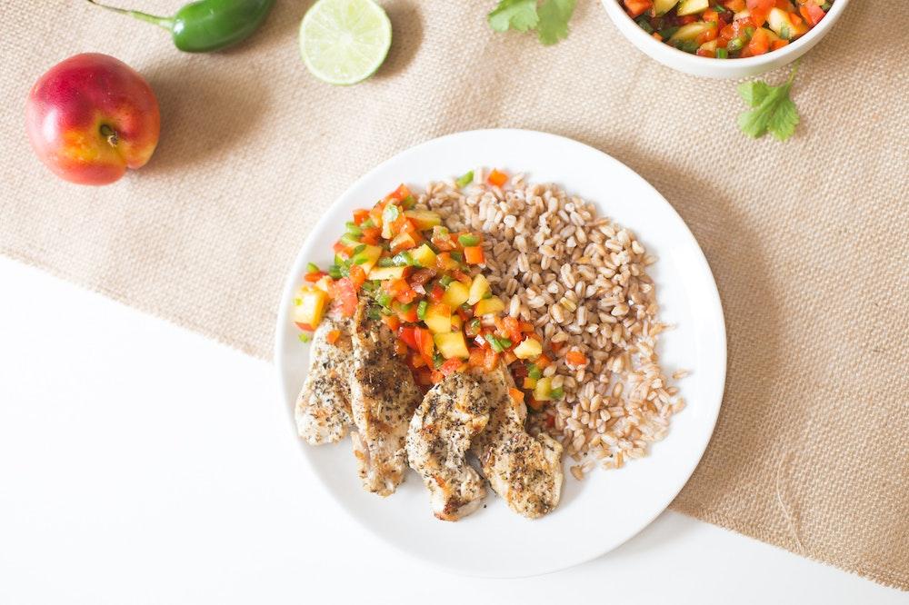 Farro bowls with Nectarine Salsa