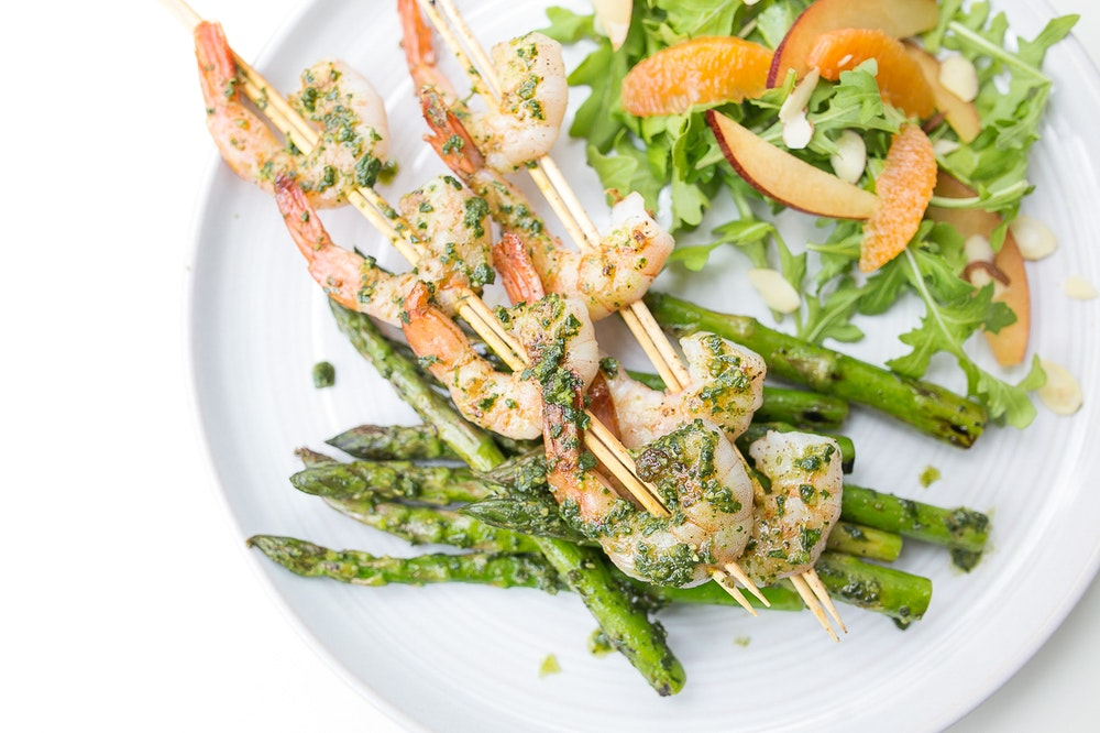 Pesto Grilled Shrimp and Asparagus