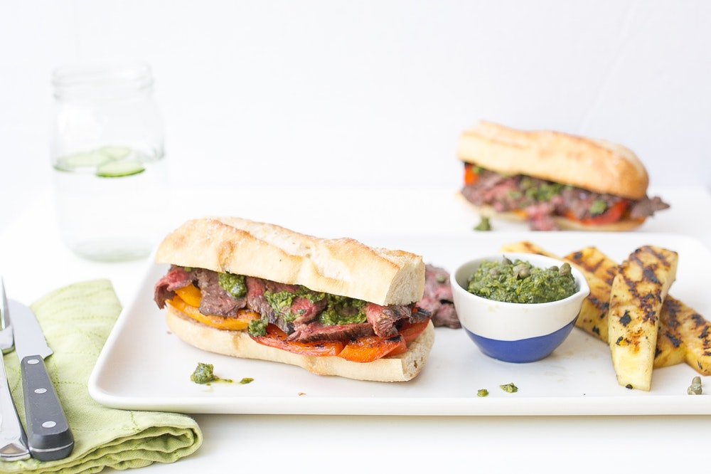Skirt Steak Sandwiches with Pesto