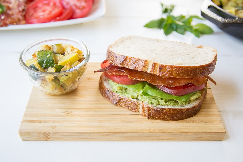 Avocado, Tomato, Hummus and Sprout Sandwich