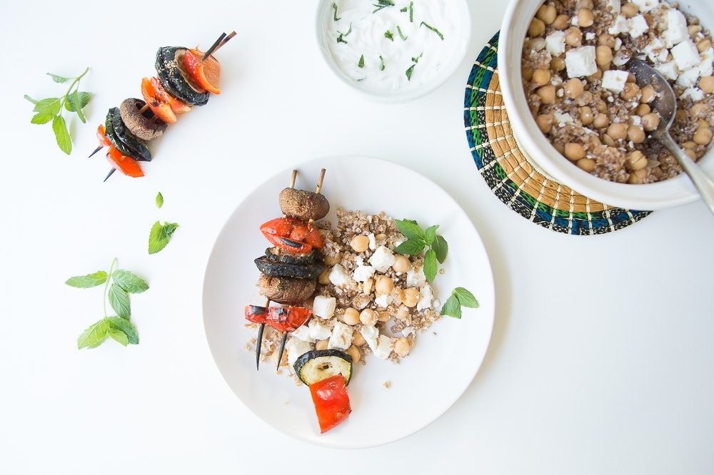 Vegetable Kebabs with Mint Yogurt Sauce