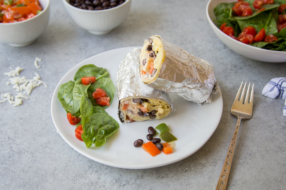 Breakfast Burritos with Black Beans and Salsa