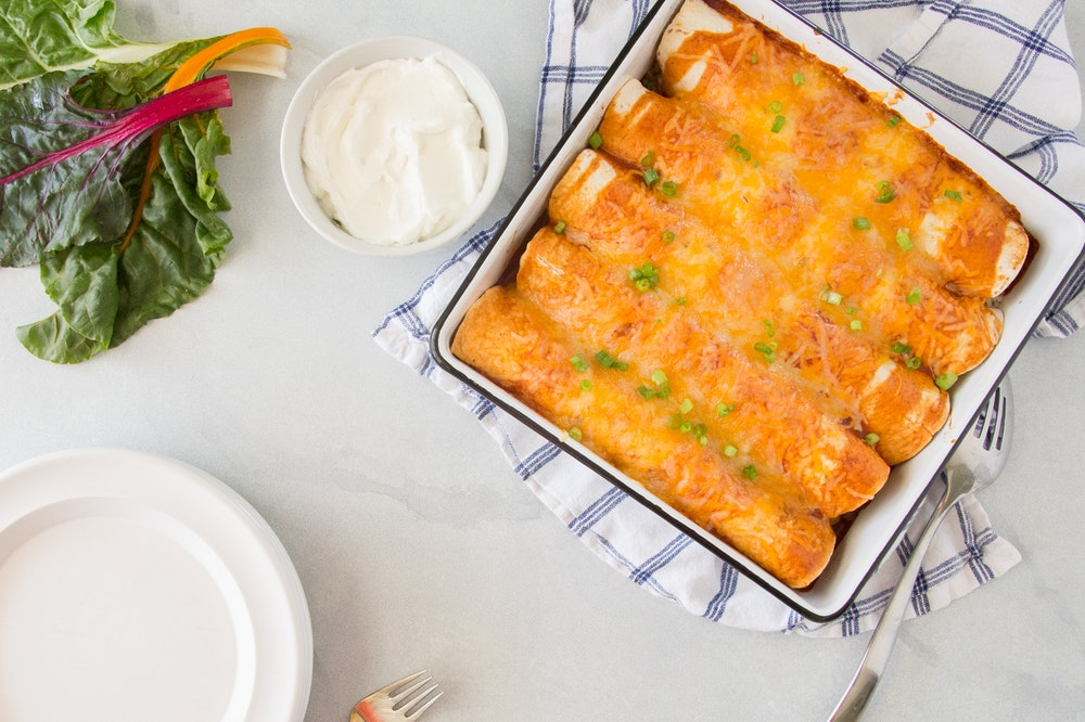 Enchiladas with Swiss Chard and Pinto Beans