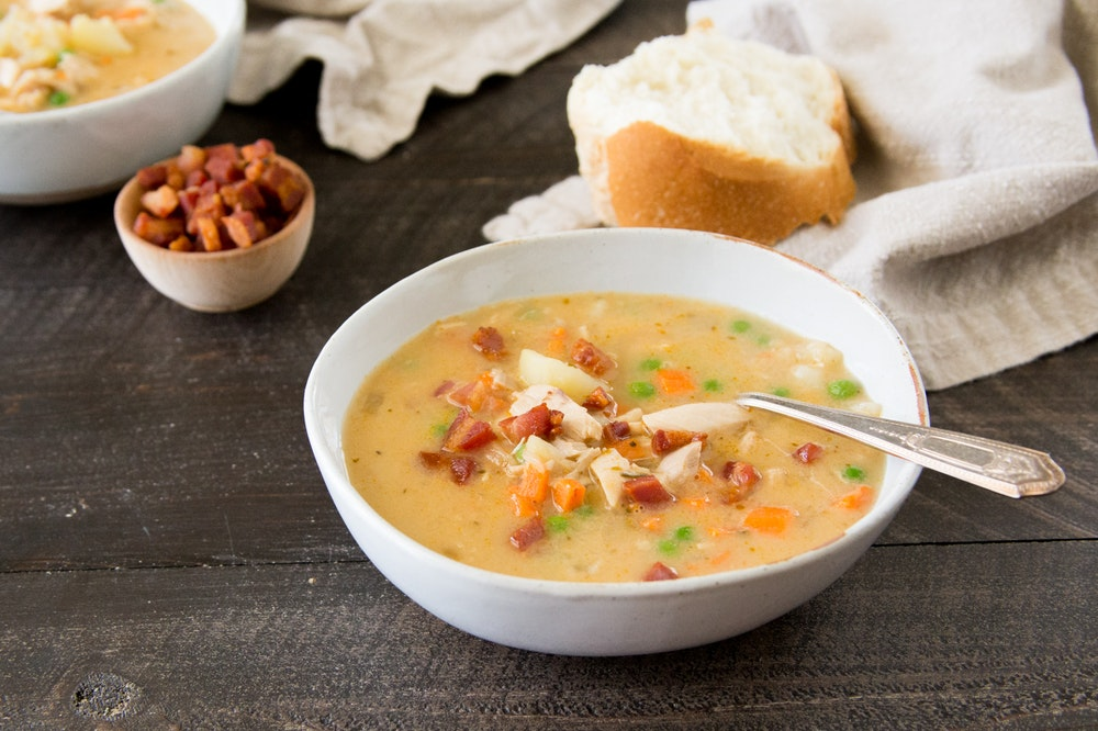 Creamy Italian Potato and Turkey Soup